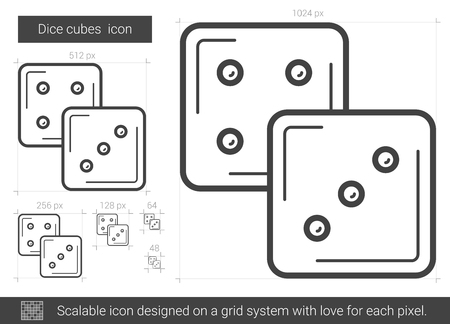 Dice cubes vector line icon isolated on white background. Dice cubes line icon for infographic, website or app. Scalable icon designed on a grid system. Illusztráció