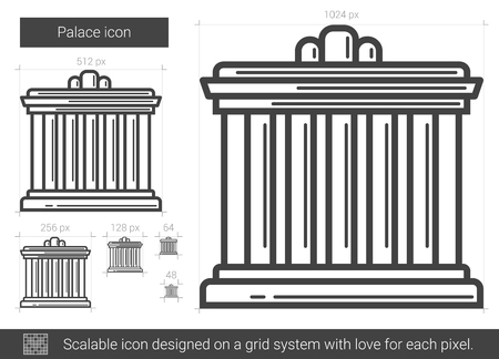 Palace vector line icon isolated on white background. Palace line icon for infographic, website or app. Scalable icon designed on a grid system.