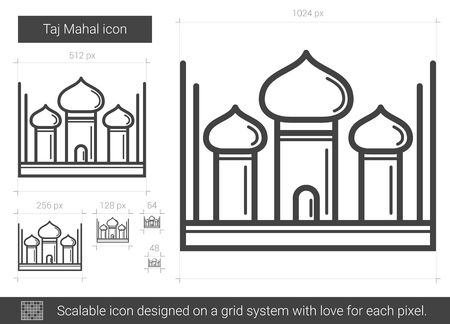 Taj Mahal vector line icon isolated on white background. Taj Mahal line icon for infographic, website or app. Scalable icon designed on a grid system. Illusztráció