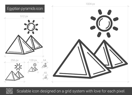 Egyptian pyramid vector line icon isolated on white background. Egyptian pyramid line icon for infographic, website or app. Scalable icon designed on a grid system. Illustration