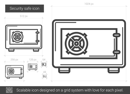 Security safe vector line icon isolated on white background. Security safe line icon for infographic, website or app. Scalable icon designed on a grid system.