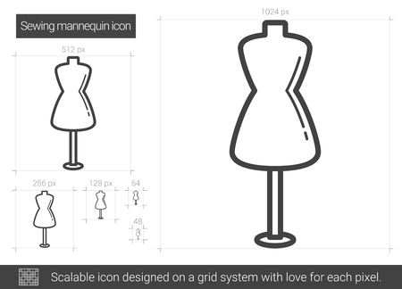 Cone de linha de vetor de manequim de costura isolado no fundo branco. Ícone de linha manequim de costura para infográfico, site ou app. Ícone escalável projetado em um sistema de grade. Foto de archivo - 79671658