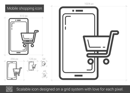 Mobile shopping vector line icon isolated on white background. Mobile shopping line icon for infographic, website or app. Scalable icon designed on a grid system.