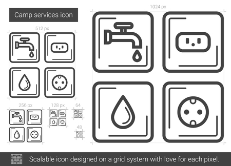 Camp services vector line icon isolated on white background. Camp services line icon for infographic, website or app. Scalable icon designed on a grid system. Stock Illustratie