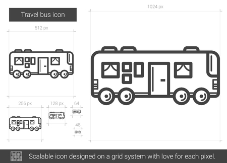 Travel bus vector line icon isolated on white background. Travel bus line icon for infographic, website or app. Scalable icon designed on a grid system.