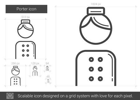 Trägervektorlinie Ikone lokalisiert auf weißem Hintergrund. Gepäckträger-Symbol für Infografik, Website oder App. Skalierbares Symbol, das auf einem Rastersystem entworfen wurde.