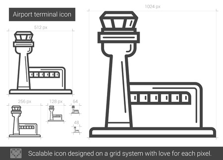 Airport terminal vector line icon isolated on white background. Airport terminal line icon for infographic, website or app. Scalable icon designed on a grid system. Illustration