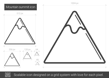 Mountain summit vector line icon isolated on white background. Mountain summit line icon for infographic, website or app. Scalable icon designed on a grid system.