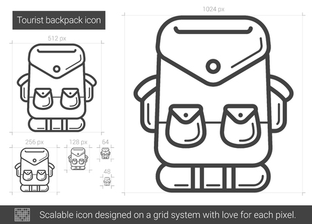 mountaineering: Tourist backpack vector line icon isolated on white background. Tourist backpack line icon for infographic, website or app. Scalable icon designed on a grid system.