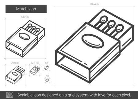 matchbox: Match vector line icon isolated on white background. Match line icon for infographic, website or app. Scalable icon designed on a grid system. Illustration