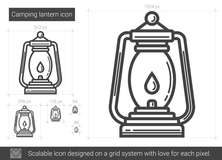 Camping lantern vector line icon isolated on white background. Camping lantern line icon for infographic, website or app. Scalable icon designed on a grid system. Vectores