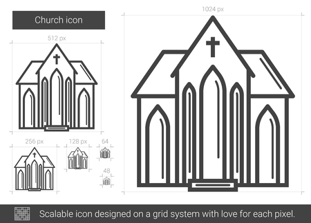 Church vector line icon isolated on white background. Church line icon for infographic, website or app. Scalable icon designed on a grid system.