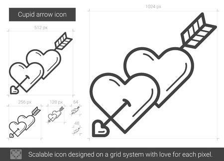 pierce: Cupid arrow vector line icon isolated on white background. Cupid arrow line icon for infographic, website or app. Scalable icon designed on a grid system.
