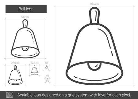 Bell vector line icon isolated on white background. Bell line icon for infographic, website or app. Scalable icon designed on a grid system.  イラスト・ベクター素材