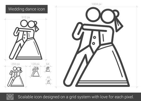 Wedding dance vector line icon isolated on white background. Wedding dance line icon for infographic, website or app. Scalable icon designed on a grid system.