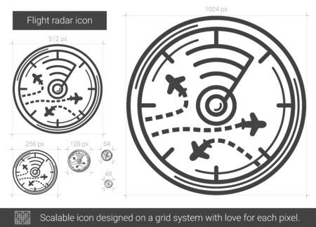 Flight radar vector line icon isolated on white background. Flight radar line icon for infographic, website or app. Scalable icon designed on a grid system. Illustration