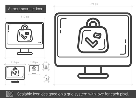 Airport scanner vector line icon isolated on white background. Airport scanner line icon for infographic, website or app. Scalable icon designed on a grid system.