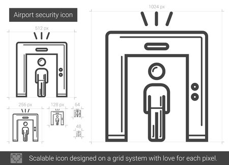 metal grid: Airport security vector line icon isolated on white background. Airport security line icon for infographic, website or app. Scalable icon designed on a grid system. Illustration