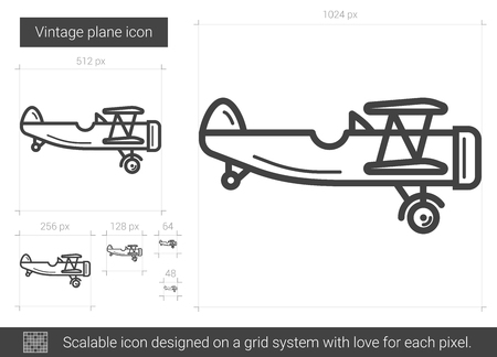 Vintage plane vector line icon isolated on white background. Vintage plane line icon for infographic, website or app. Scalable icon designed on a grid system. Vectores