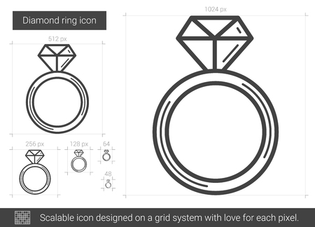 Diamond ring vector line icon isolated on white background. Diamond ring line icon for infographic, website or app. Scalable icon designed on a grid system.