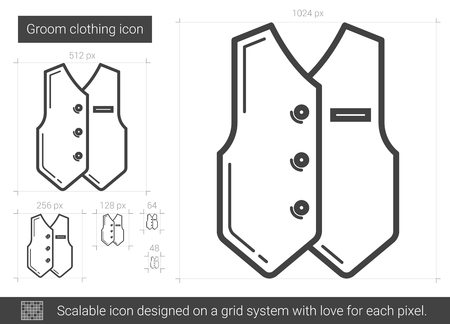 Groom clothing vector line icon isolated on white background. Groom clothing line icon for infographic, website or app. Scalable icon designed on a grid system.