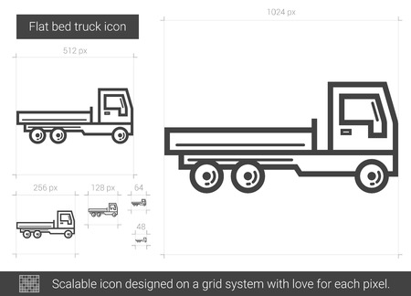 Flat bed truck vector line icon isolated on white background. Flat bed truck line icon for infographic, website or app. Scalable icon designed on a grid system.