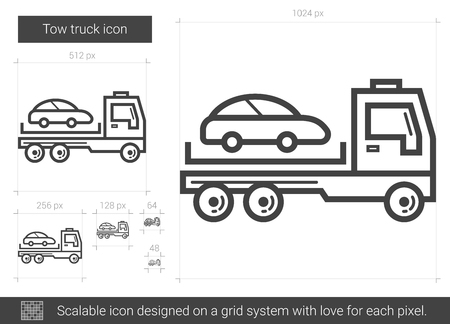 the wrecker: Tow truck vector line icon isolated on white background. Tow truck line icon for infographic, website or app. Scalable icon designed on a grid system.
