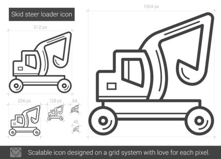 Skid steer loader vector line icon isolated on white background. Skid steer loader line icon for infographic, website or app. Scalable icon designed on a grid system. Illustration