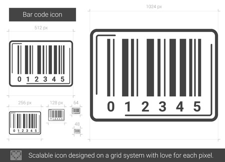 Bar code vector line icon isolated on white background. Bar code line icon for infographic, website or app. Scalable icon designed on a grid system.