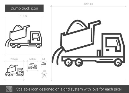 truckload: Dump truck vector line icon isolated on white background. Dump truck line icon for infographic, website or app. Scalable icon designed on a grid system.