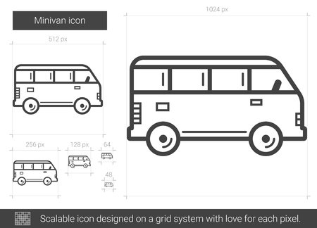 Minivan vector line icon isolated on white background. Minivan line icon for infographic, website or app. Scalable icon designed on a grid system. Illustration