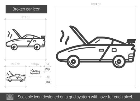 Icône de ligne de vecteur voiture cassée isolé sur fond blanc. Icône de ligne de voiture cassée pour infographie, site Web ou app. Icône évolutive conçue sur un système de grille. Banque d'images - 79672385