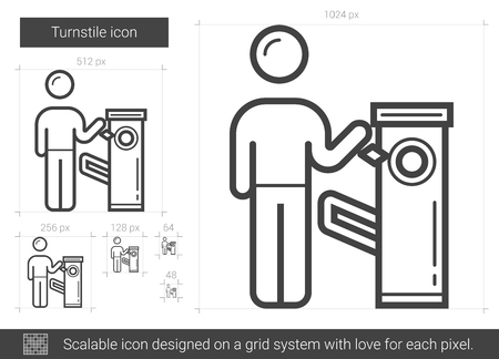 Turnstile vector line icon isolated on white background. Turnstile line icon for infographic, website or app. Scalable icon designed on a grid system.