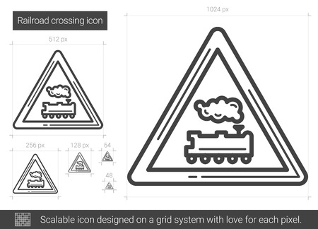 Railroad crossing vector line icon isolated on white background. Railroad crossing line icon for infographic, website or app. Scalable icon designed on a grid system.