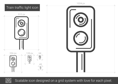 Train traffic light vector line icon isolated on white background. Train traffic light line icon for infographic, website or app. Scalable icon designed on a grid system.