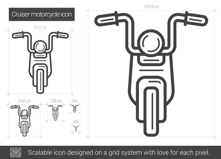 Cruiser motorcycle vector line icon isolated on white background. Cruiser motorcycle line icon for infographic, website or app. Scalable icon designed on a grid system.