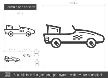 Formula one car line icon.