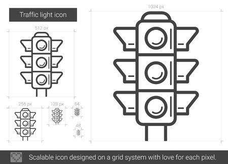 Traffic light vector line icon isolated on white background. Traffic light line icon for infographic, website or app. Scalable icon designed on a grid system.