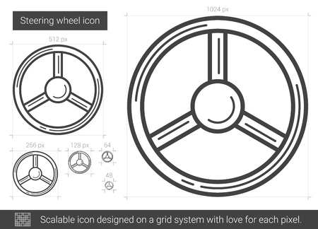 Steering wheel vector line icon isolated on white background. Steering wheel line icon for infographic, website or app. Scalable icon designed on a grid system. Stock Illustratie