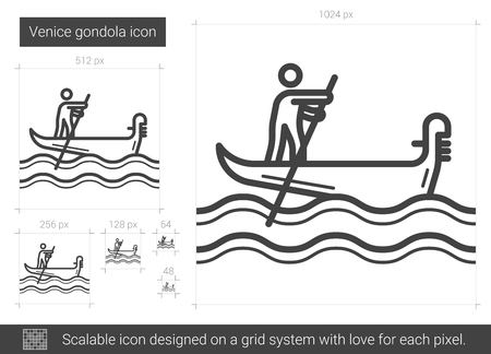 rowboat: Venice gondola vector line icon isolated on white background. Venice gondola line icon for infographic, website or app. Scalable icon designed on a grid system. Illustration