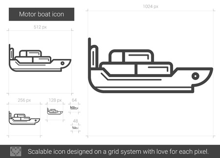 Motor boat vector line icon isolated on white background. Motor boat line icon for infographic, website or app. Scalable icon designed on a grid system.