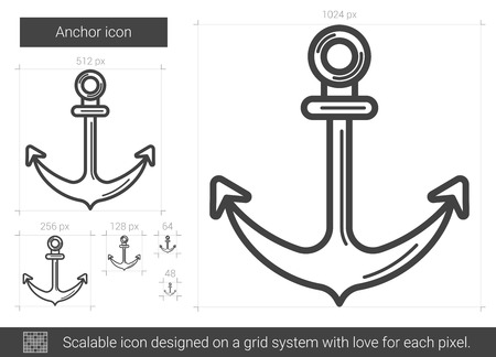 Anchor vector line icon isolated on white background. Anchor line icon for infographic, website or app. Scalable icon designed on a grid system. Stock Illustratie