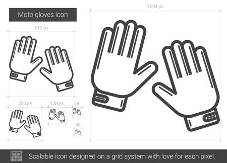 Moto gloves vector line icon isolated on white background. Moto gloves line icon for infographic, website or app. Scalable icon designed on a grid system.