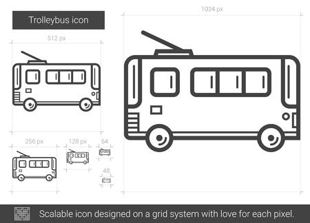 Trolleybus Vektor Zeile Symbol isoliert auf weißem Hintergrund. Trolleybus-Symbol für Infografik, Website oder App. Skalierbares Icon auf einem Rastersystem. Standard-Bild - 79673844