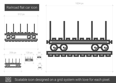 Railroad flat car vector line icon isolated on white background. Railroad flat car line icon for infographic, website or app. Scalable icon designed on a grid system.