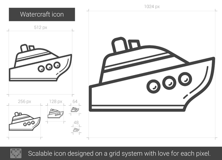Watercraft vector line icon isolated on white background. Watercraft line icon for infographic, website or app. Scalable icon designed on a grid system. 版權商用圖片 - 79673573