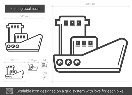 Fishing boat vector line icon isolated on white background. Fishing boat line icon for infographic, website or app. Scalable icon designed on a grid system.