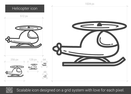 Helicopter vector line icon isolated on white background. Helicopter line icon for infographic, website or app. Scalable icon designed on a grid system.