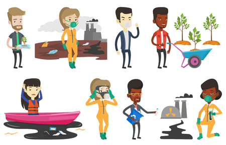 Vector set of characters on ecology issues. 版權商用圖片 - 80040083