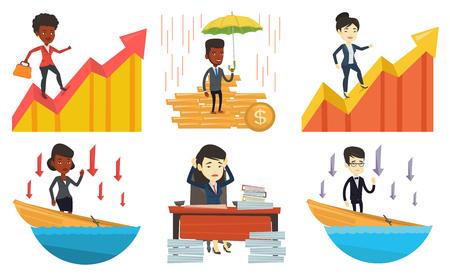 bankrupt: Vector set of business characters. Illustration